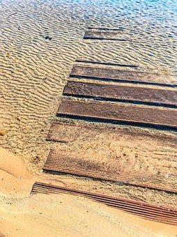 Spring, Waves, Sand, Calm, Sea, Costa, Wood, Damp