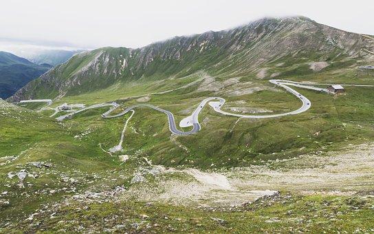 Alps, Alpine Path, Serpantine, Road, Clouds, Landscape