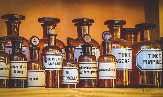 Pharmacy, Old, Bottles, Drug, Medicinal Products, Cure