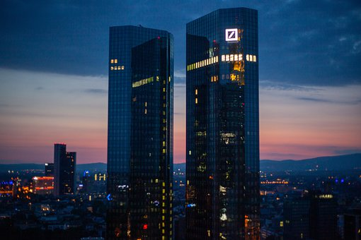 Frankfurt, Night, Deutsche Bahn, Skyline, Skyscratcher