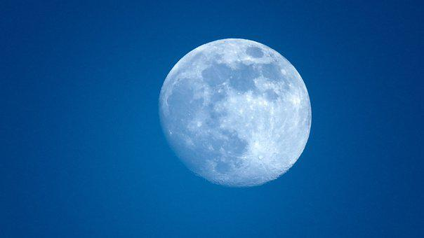 Moon, Full, Sky, Blue, Evening, Astronomy, Space, Lunar