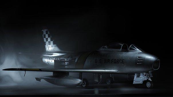 F86, Sabre, Model Airplane, Light Painting, Smoke, Mood