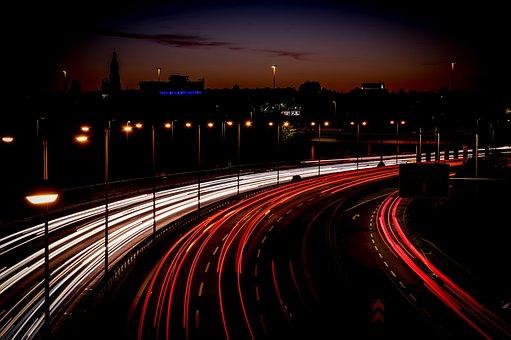 Highway, Light Trail, Long Exposure, Speed, Traffic