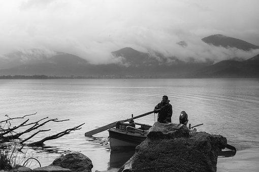 Lake, Fisher, Black White, Water, Nature, Boat, Outdoor