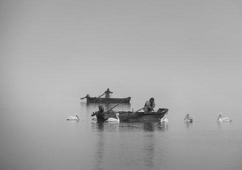 Lake, Black White, Clouds, Boats, Fog, Nature, Travel