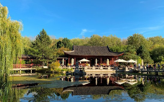 Gardens Of The World, Chinese Tea House, Pond