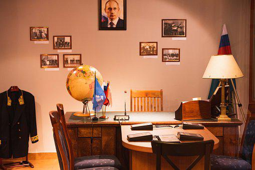 Office, Russian, Putin, Table, Working, Workplace