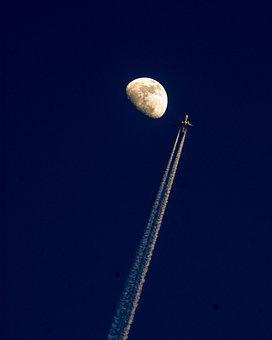 Moon, Plane, Sky, Airport, Environment, Flight