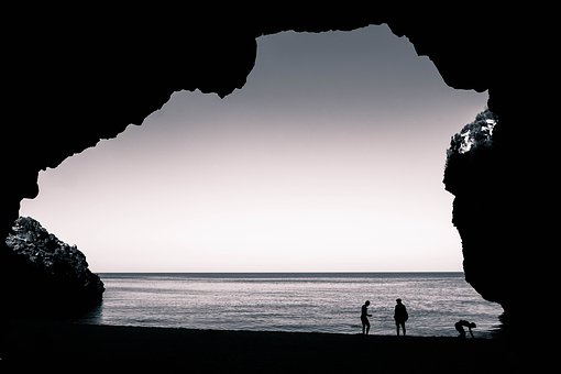 Three Friends, Sea, Cave, Silhouettes, Sky, With