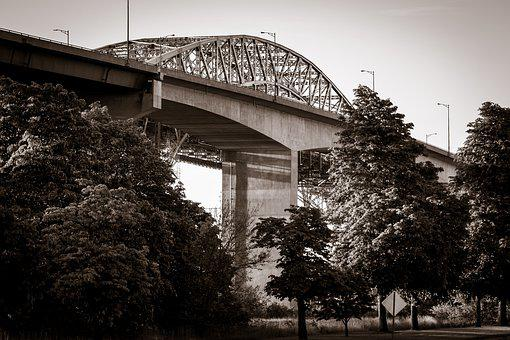 Skyways, Bridge, Morning, Black And White, Structures
