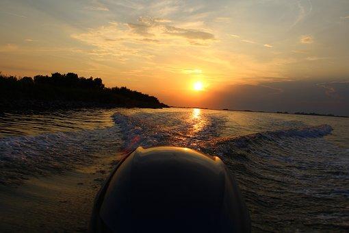 Boot, Engine, Sea, Waves, Sunset, Italy