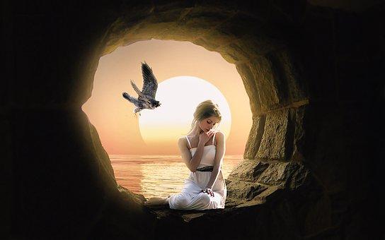 Bird, Eagle, Sunshine, Sunrise, Cave, Light, Women