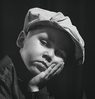 Portrait, Boy, Studio, Black And White, Artistic, Retro