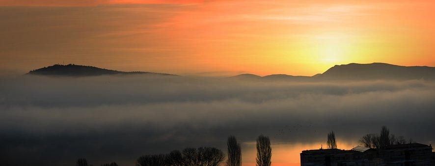 Fog, Morning, Lake, Colorful, Nature, Landscape, Haze