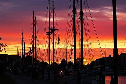 Port, Greifswald, Harbour Museum, Sunset, Sailing Boats