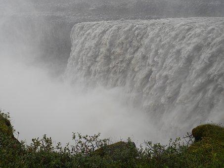 Waterfall, The Fog, Rain, Iceland, Water, Rocks, Nature