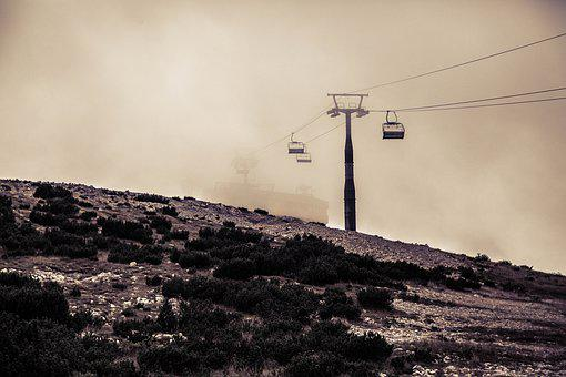 Cable Car, Mist, Fog, Aerial, High, Mountain