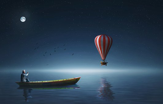 Boat, Air, Baloon, Night, Moon, Sky, Sardinia, Travel