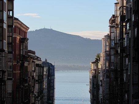 Santander, Bay, Cantabria, Spain, Sea, Ocean, Clouds