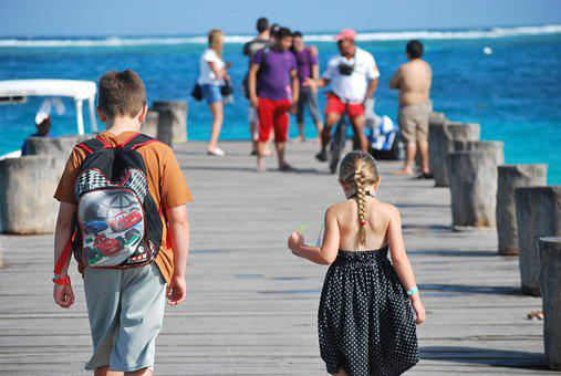 Pier, Mexico, Children, Siblings, Vacation, Family