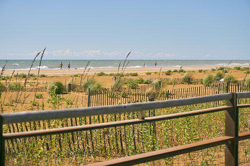 Sand, Beach, Fence, Fenced, Wood, Water, Sea, Summer