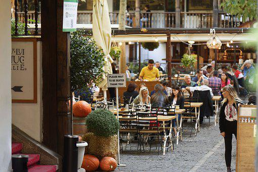 Restaurant, Terrace, The Inn, The World, People, Food