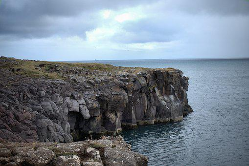 Coast, Cliff, Iceland, Travel, Water, Ocean, Sea