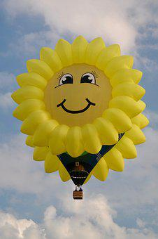 Balloon, Yellow, Sunflower, Sun, Flying, Sky, Clouds