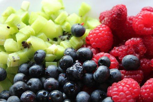 Fruit, Raspberries, Blueberries, Berries, Kiwi