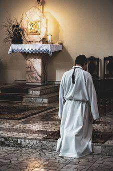 Praying, Child, Sad, Lonely, Church, Pulpit, The Altar
