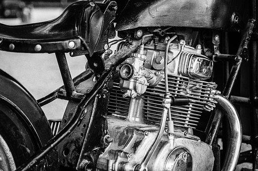 Motorcycle, Engine, Cylinder, Chrome, Detail, Metal