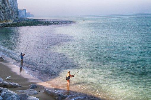 Cliffs, Sea, Fishermen, Fishers, Baie-de-somme