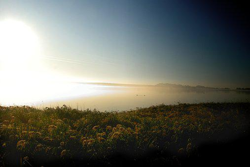 Sunrise, Fog, Sea, Lake, Island, Rügen, Water, Nature