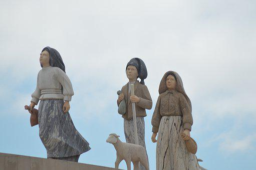 Statue, Children, Sky, Three, Lucy, Hyacinth, Francis