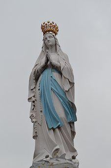 Statue, Virgin, Mary, Heavy, Crowned, Belt, Blue, Sky