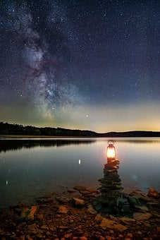 Milky Way, Lantern, Lamp, Light, Beach, Stones, Lake