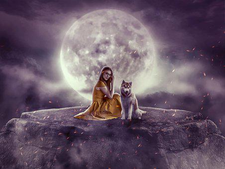 Moon, Photoshop, Fantasy, Night, Mysterious, Atmosphere