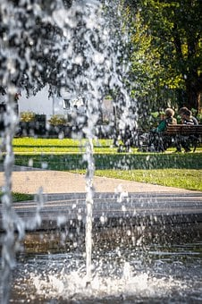 Park, Summer, Bench, Fountain, Fontaine, Water, Garden