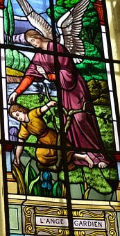 Stained Glass, Window, Church, Angel, Protection, Child