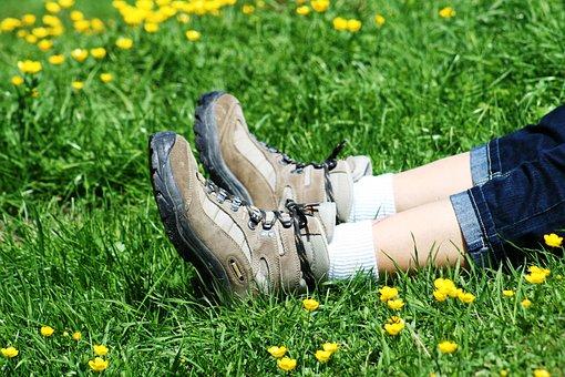 Meadow, Alm, Shoes, Hiking Shoes, Nature, Landscape