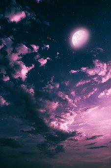 Moon, Night, Clouds, Sky, Photoshop, Fantasy, Pink