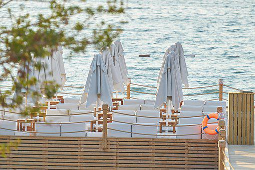 Hotel, Umbrella, Beach, Holiday, Sunbeds, Tropical