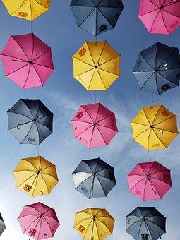 Umbrellas, Sky, Yellow, Blue, Magenta, Sunshine, Clouds