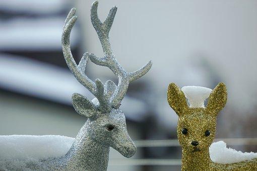 Deco, Roe Deer, Winter, Christmas, Verziehrung, Snow