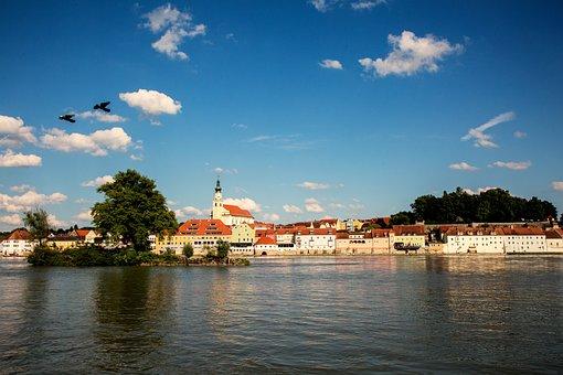 Schärding, City, Inn, Sky, Waters, Baroque City, Church