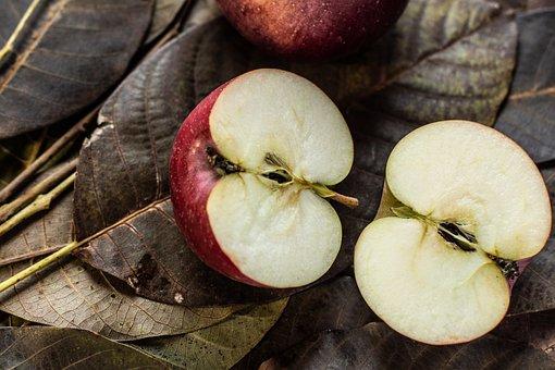 Apple, Half Of An Apple, Sunflower Seeds, Meat, Harvest