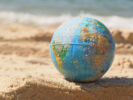 Globe, Sand, World, Sea, Beach, Ball, Earth