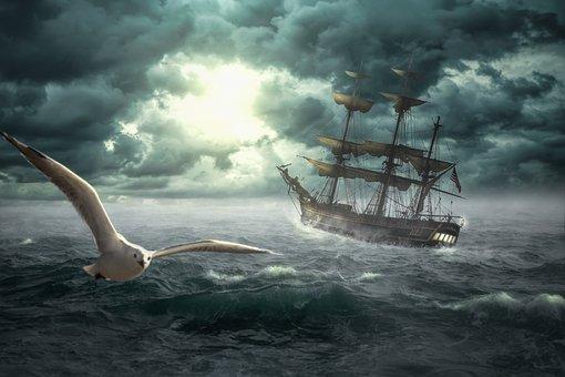 Ship, Bounty, Boat, Sea, Sunset, Sailing Boat, Sail