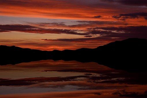 Sunset, Reflection, Lake, Twilight, Colours, Sky
