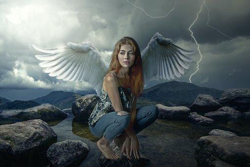 Angel, Fantasy, Gothic, Dark, Storm, Woman, Girl, Young